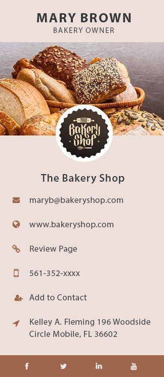 the bakery shop business card