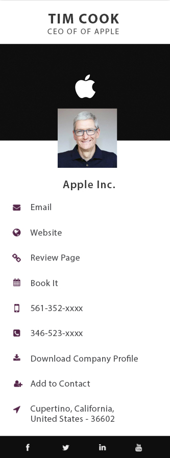 tim cook business card