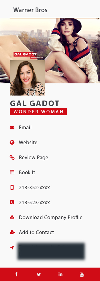 gal gadot business card